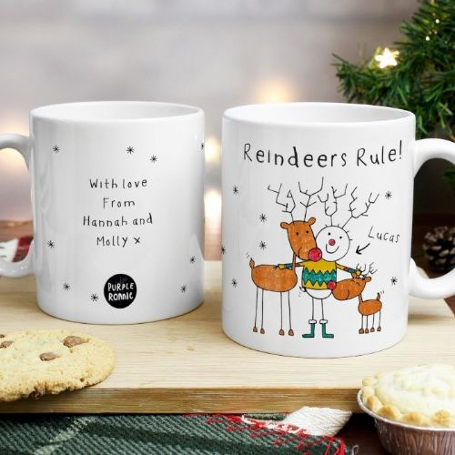 Personalised Purple Ronnie Reindeers Rule Male Mug